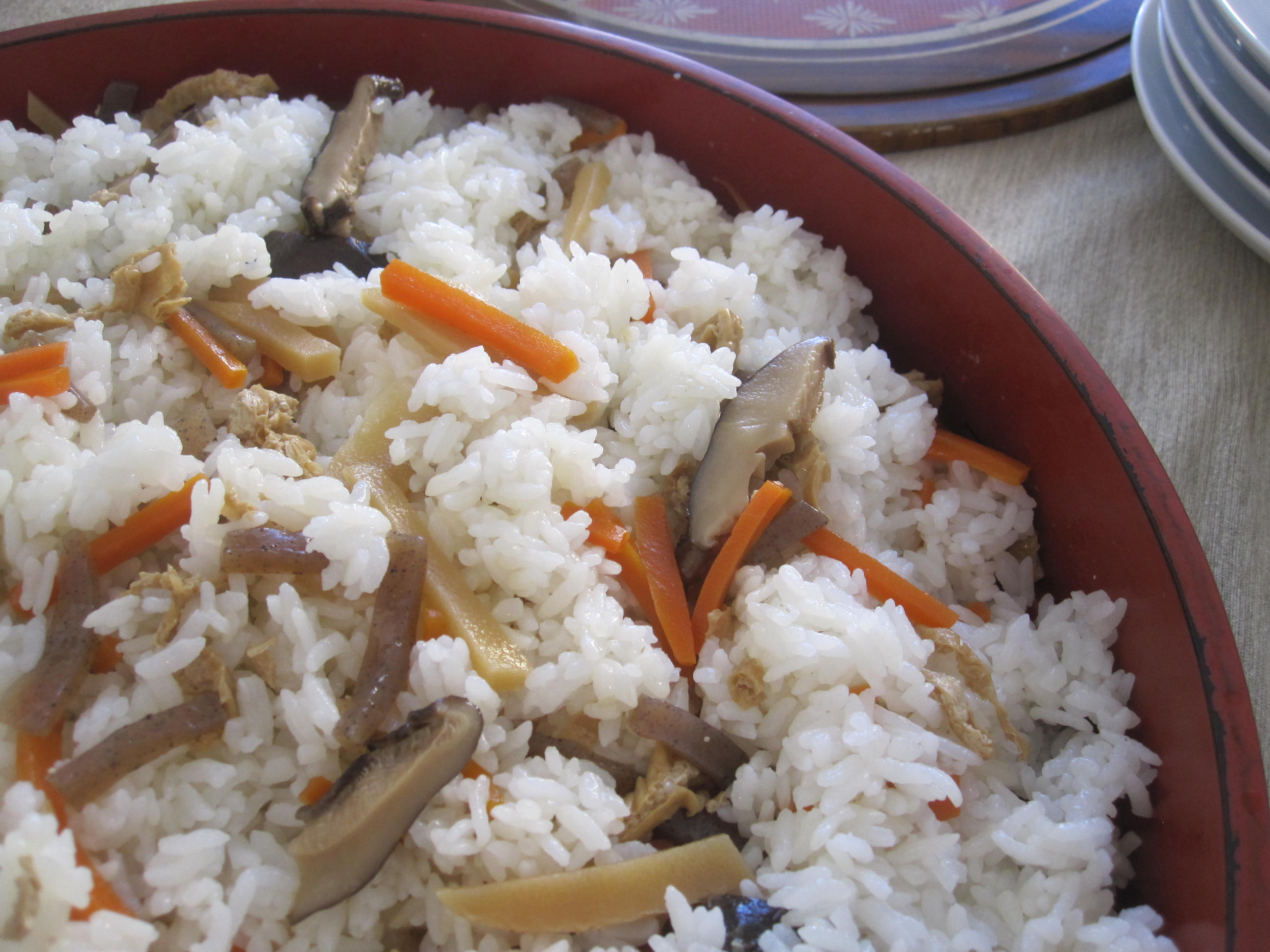 Gomoku Sushi Rice: vinegared sushi rice, konnyaku, carrots, shiitake ...