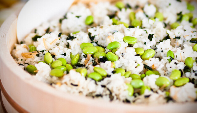Edamame Gohan (Brown Rice with Soy Beans, Nametake, Wakame)