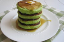 Green Pancakes with Chocolate Chips for St. Patrick's Day
